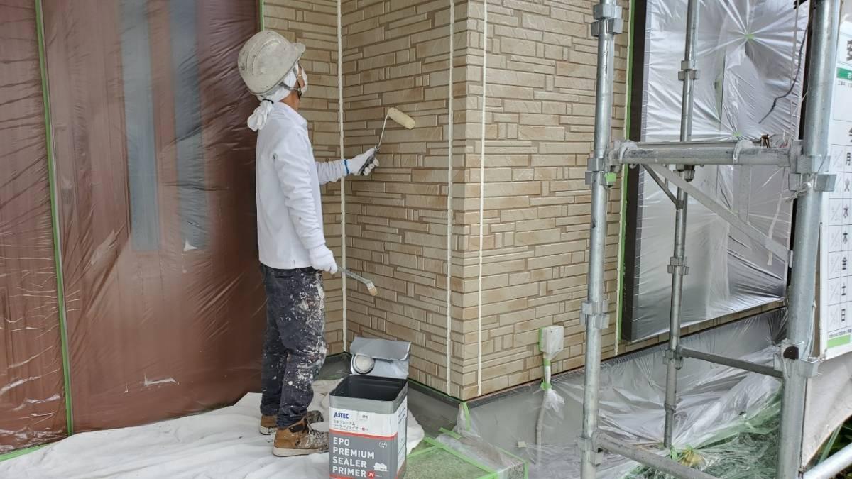 K様邸 外壁下塗り 施工写真