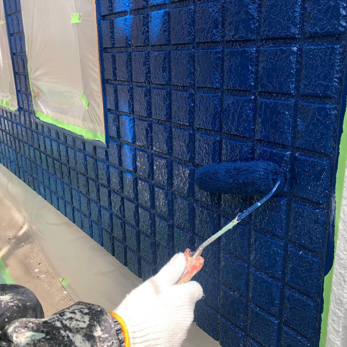 外壁色替え上塗り塗装施工写真