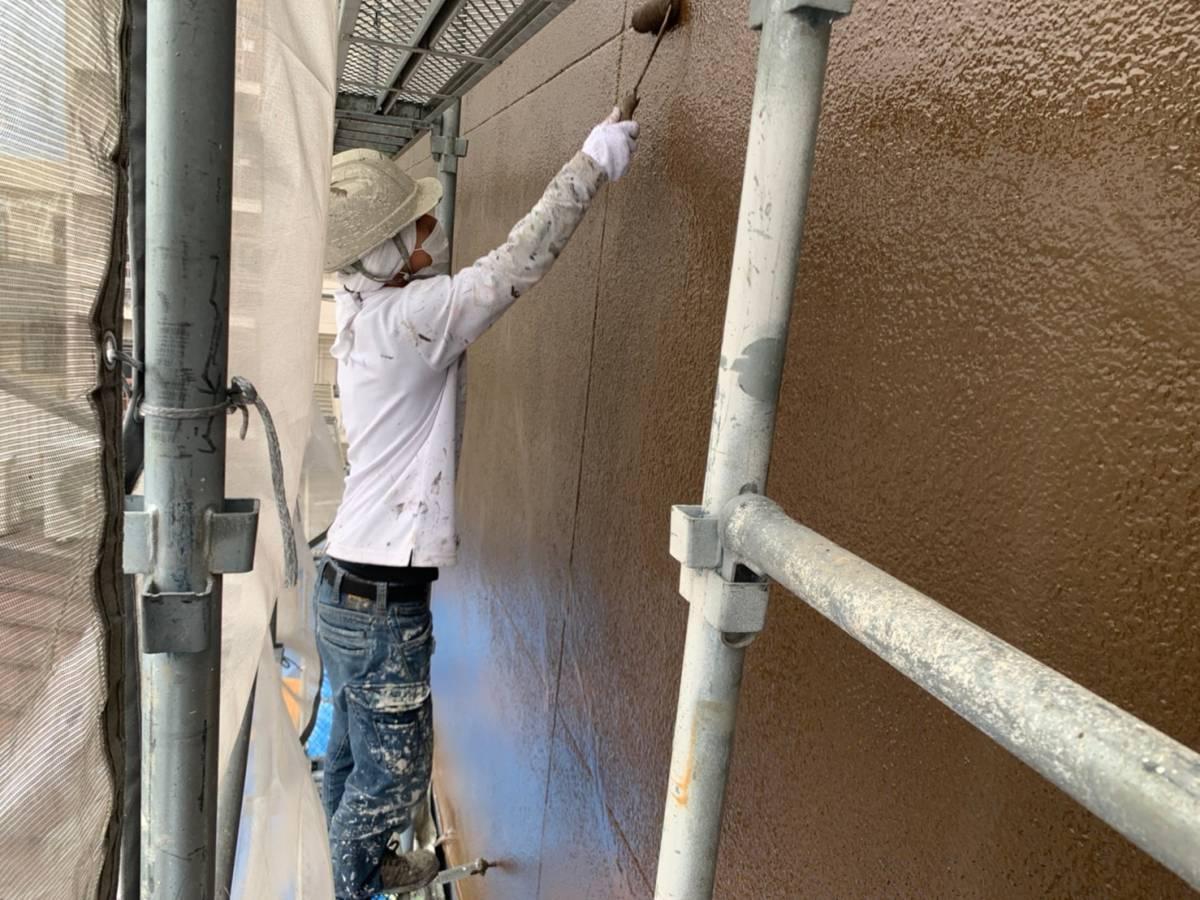岐阜県岐阜市M様邸 外壁上塗り施工写真
