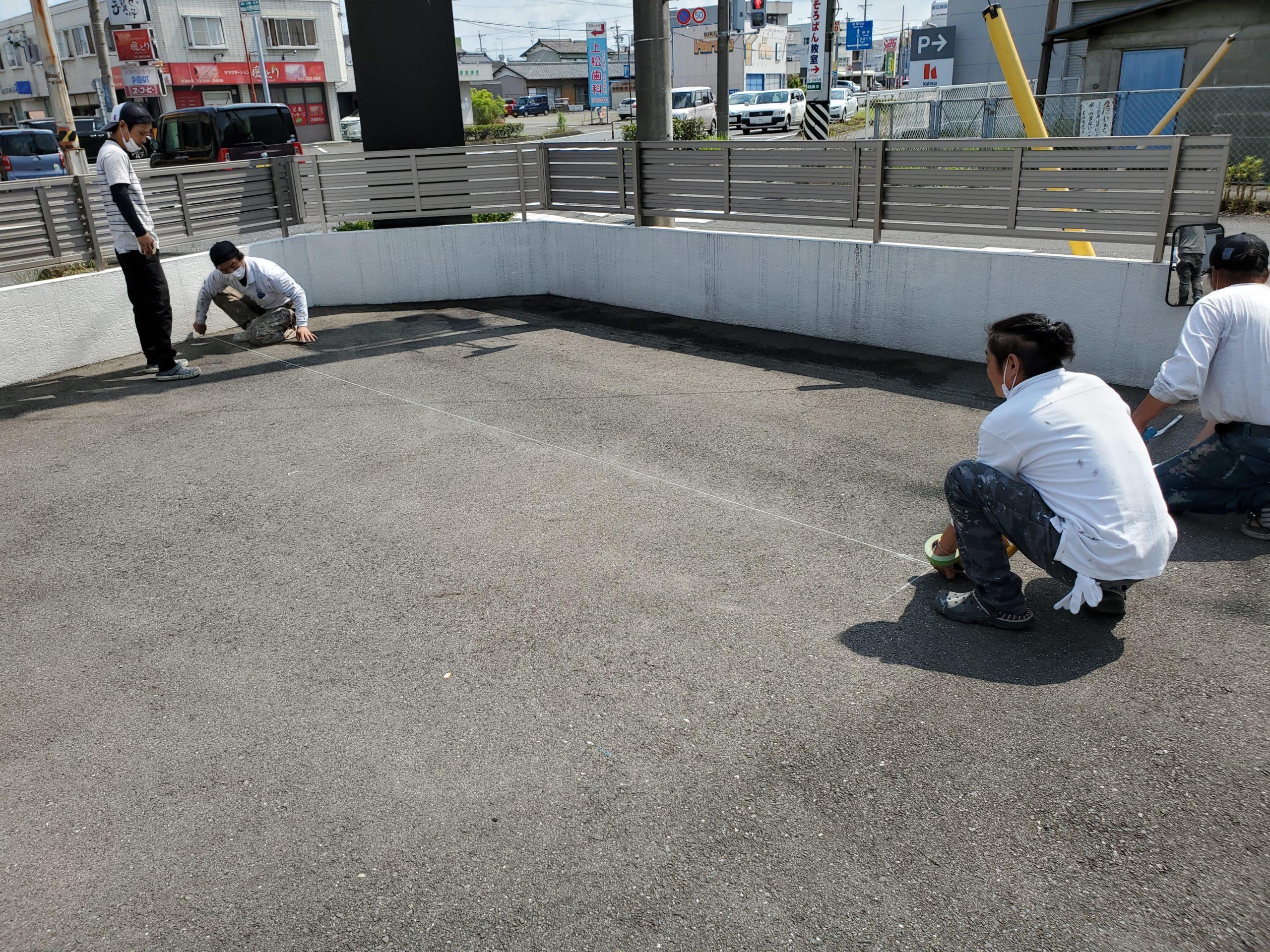 会社の駐車場 ライン出し施工写真