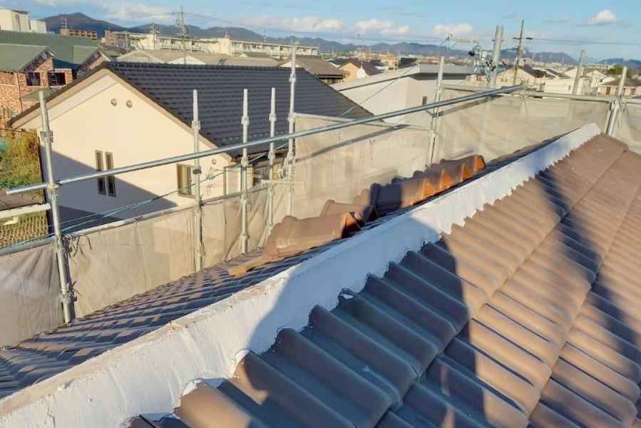 屋根瓦 面戸漆喰施工完了