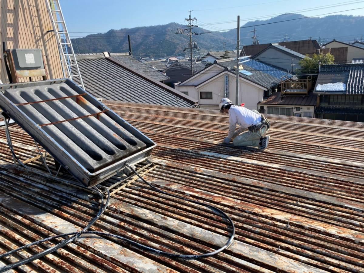 屋根板金 ケレン作業