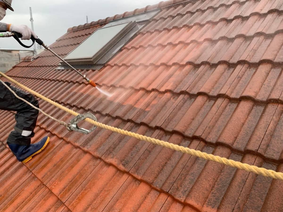 屋根高圧洗浄 施工写真