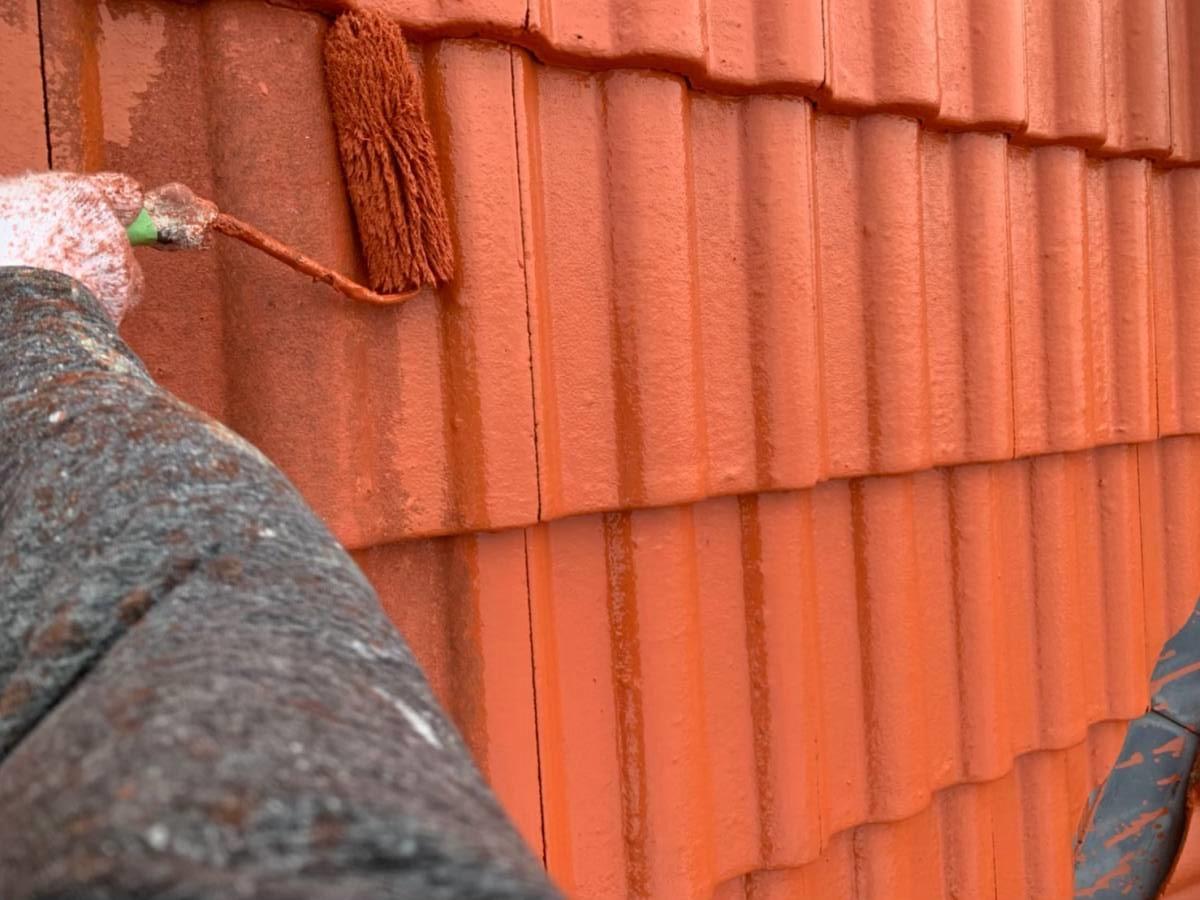 屋根 上塗り施工写真